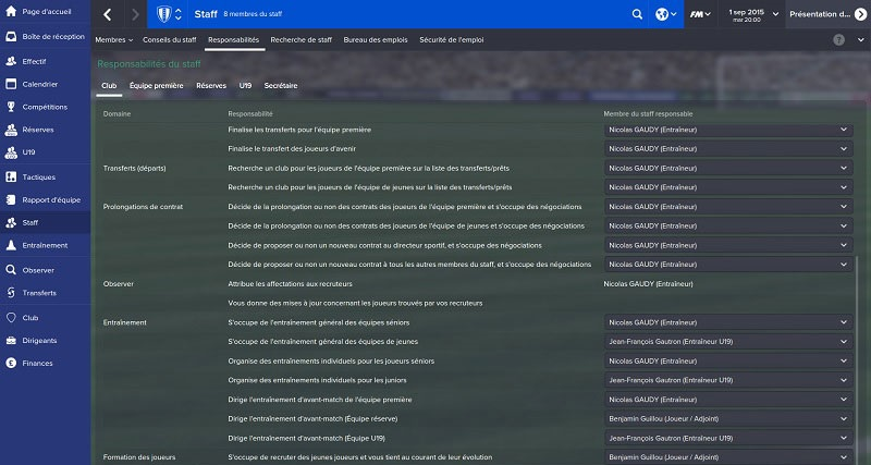 Responsabilités Staff FootBall Manager 2015